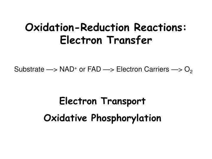 Oxidation-Reduction Reactions: