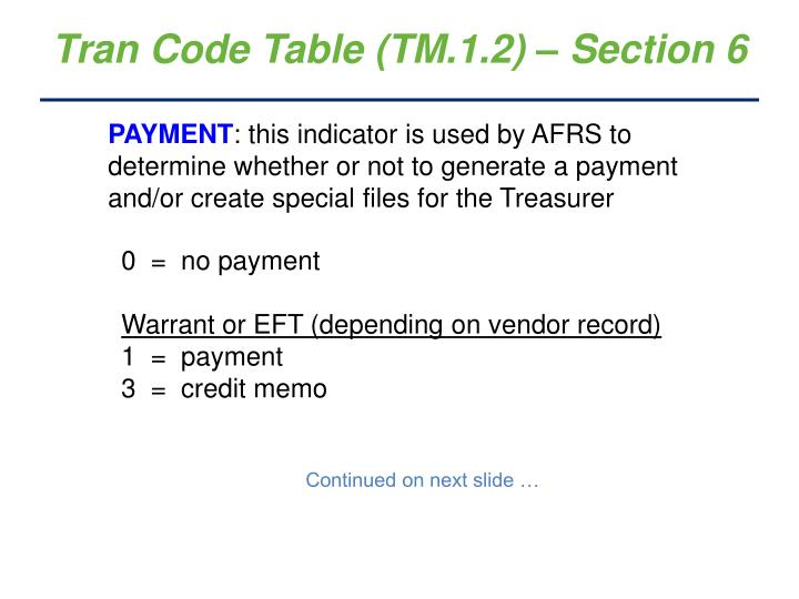 Tran Code Table (TM.1.2) – Section 6