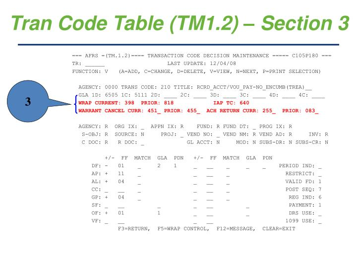 Tran Code Table (TM1.2) – Section 3