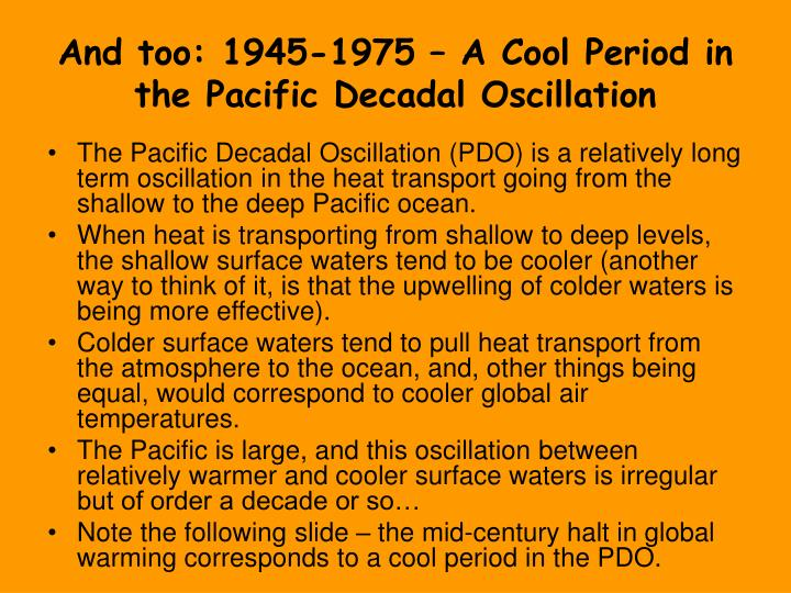 And too: 1945-1975 – A Cool Period in the Pacific Decadal Oscillation