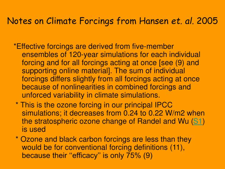 Notes on Climate Forcings from Hansen