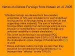 notes on climate forcings from hansen et al 2005