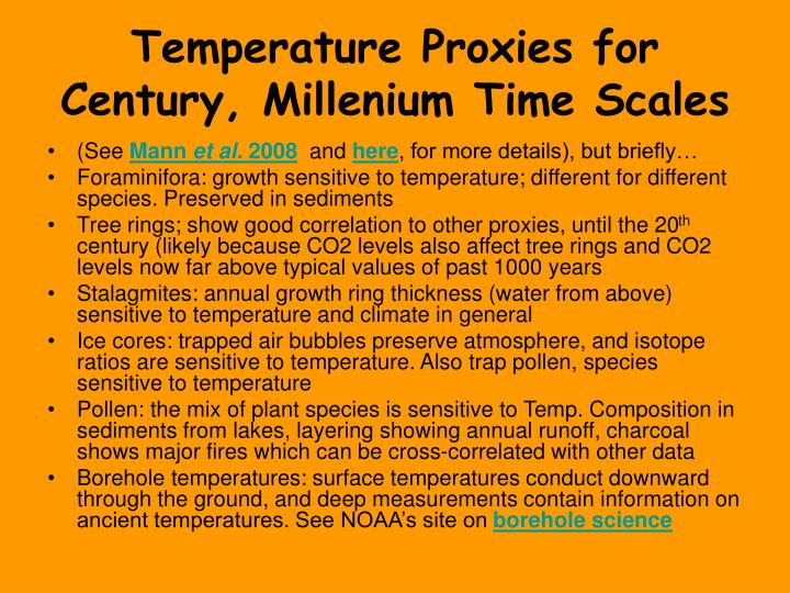 Temperature Proxies for Century, Millenium Time Scales