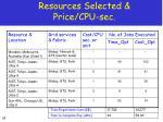 resources selected price cpu sec