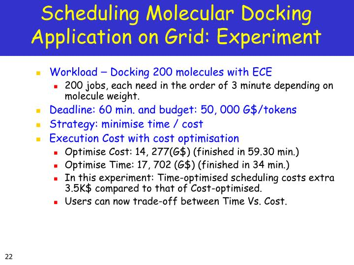 Scheduling Molecular Docking Application on Grid: Experiment