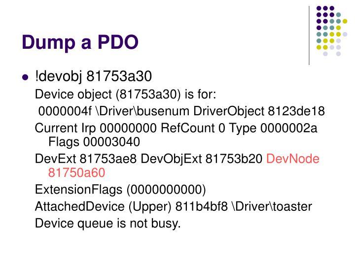 Dump a PDO