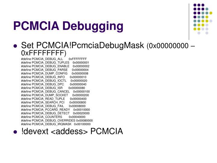 PCMCIA Debugging