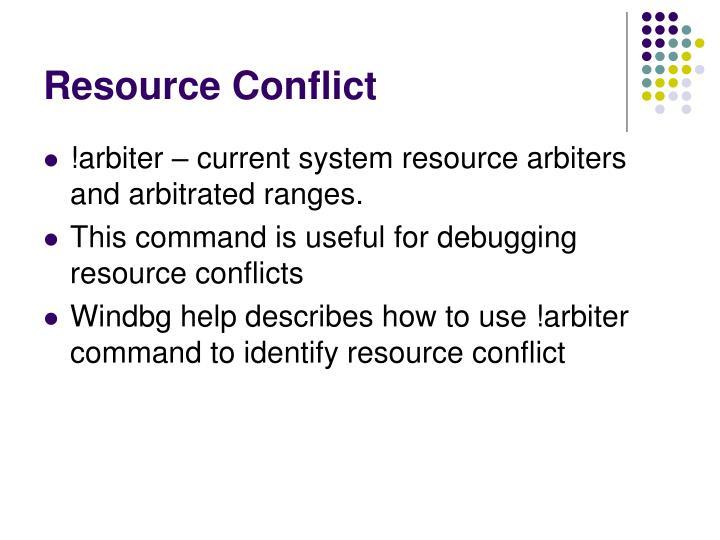 Resource Conflict