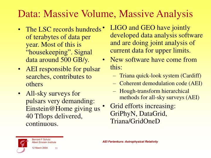 """The LSC records hundreds of terabytes of data per year. Most of this is """"housekeeping"""". Signal data around 500 GB/y."""