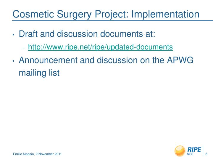 Cosmetic Surgery Project: Implementation