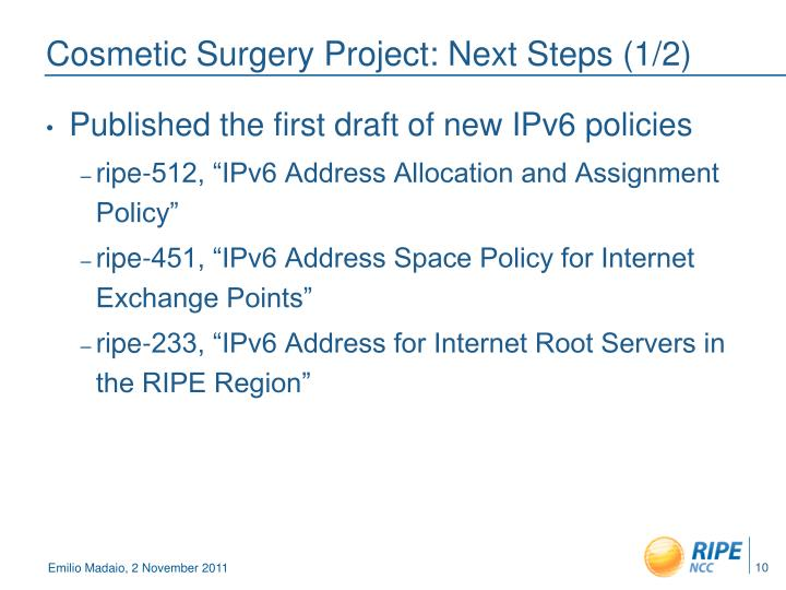 Cosmetic Surgery Project: Next Steps (1/2)