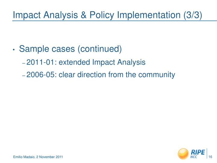 Impact Analysis & Policy Implementation (3/3)