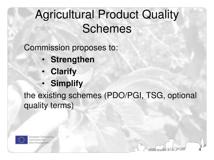Agricultural Product Quality Schemes