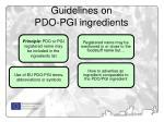guidelines on pdo pgi ingredients