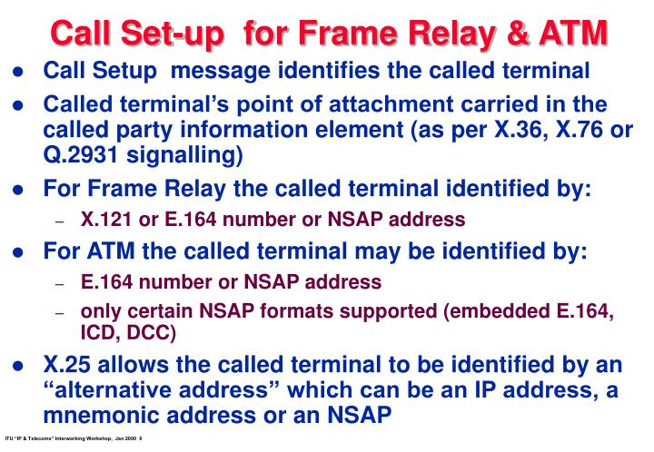 Call Set-up  for Frame Relay & ATM