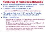 numbering of public data networks