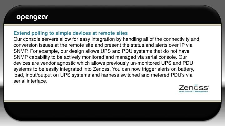 Extend polling to simple devices at remote sites