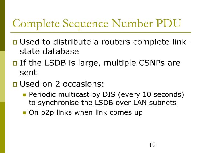 Complete Sequence Number PDU