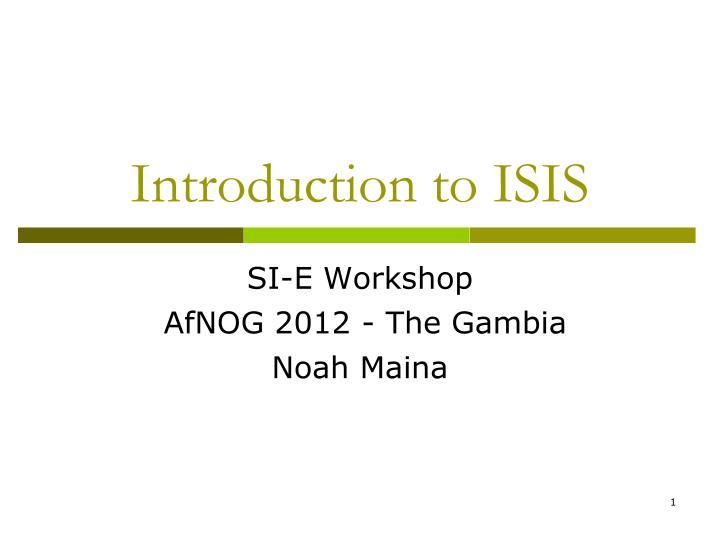 SI-E Workshop