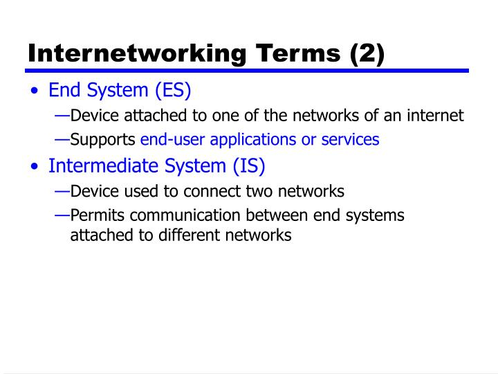 Internetworking Terms (2)