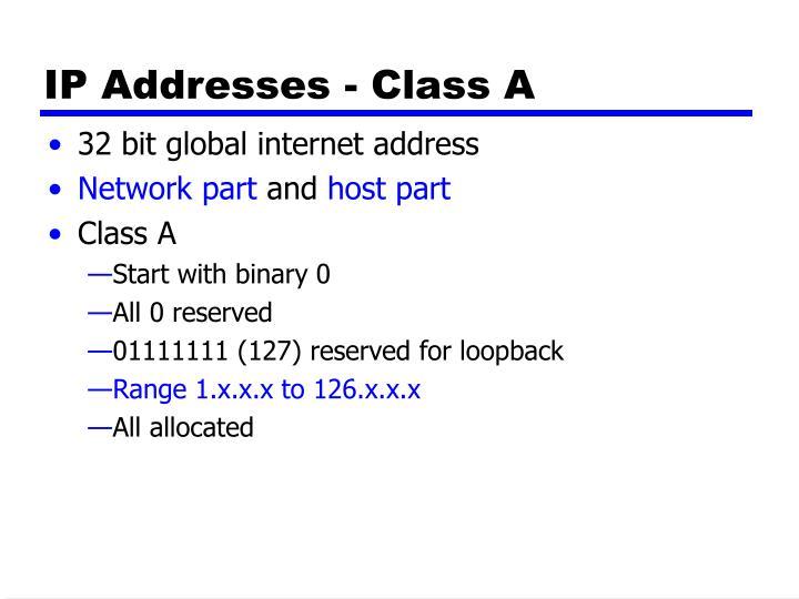 IP Addresses - Class A