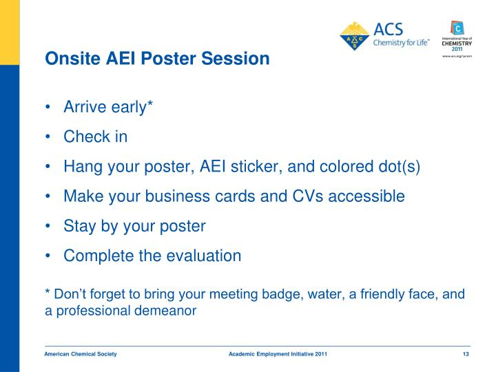 Onsite AEI Poster Session