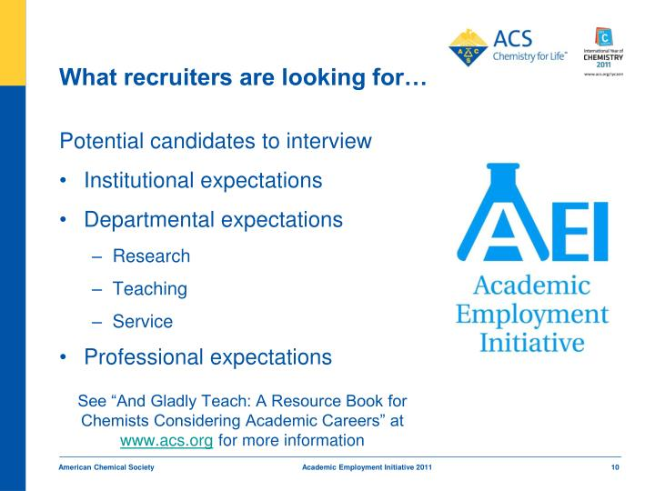 What recruiters are looking for…