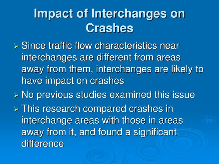Impact of Interchanges on Crashes