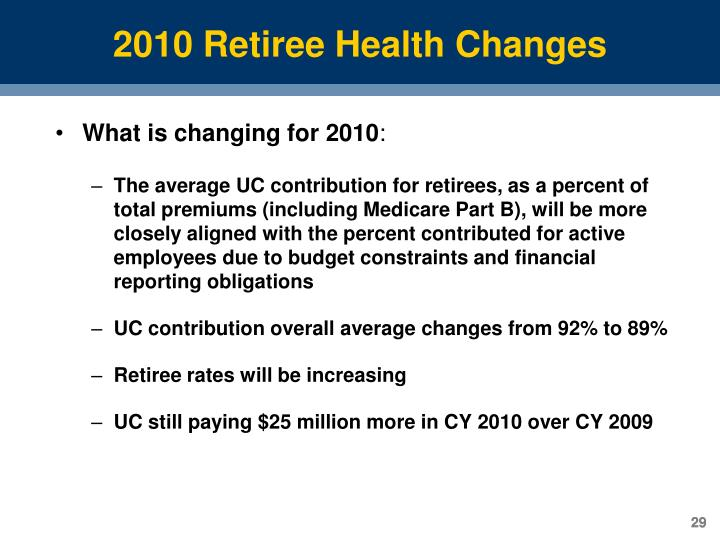 2010 Retiree Health Changes