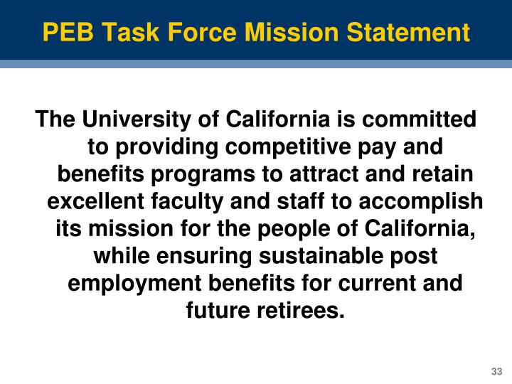 PEB Task Force Mission Statement