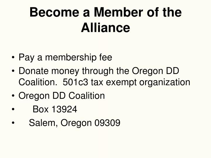 Become a Member of the Alliance