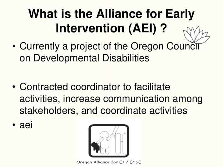 What is the Alliance for Early Intervention (AEI) ?