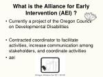 what is the alliance for early intervention aei