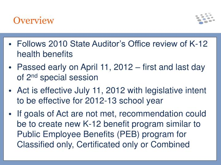 Follows 2010 State Auditor's Office review of K-12 health benefits