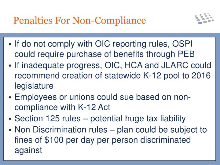 If do not comply with OIC reporting rules, OSPI could require purchase of benefits through PEB