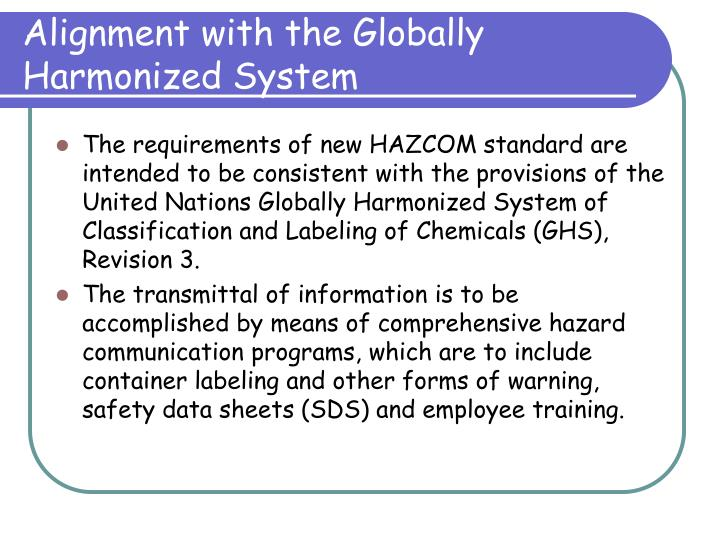 Alignment with the Globally Harmonized System