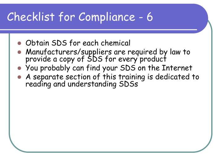 Checklist for Compliance - 6