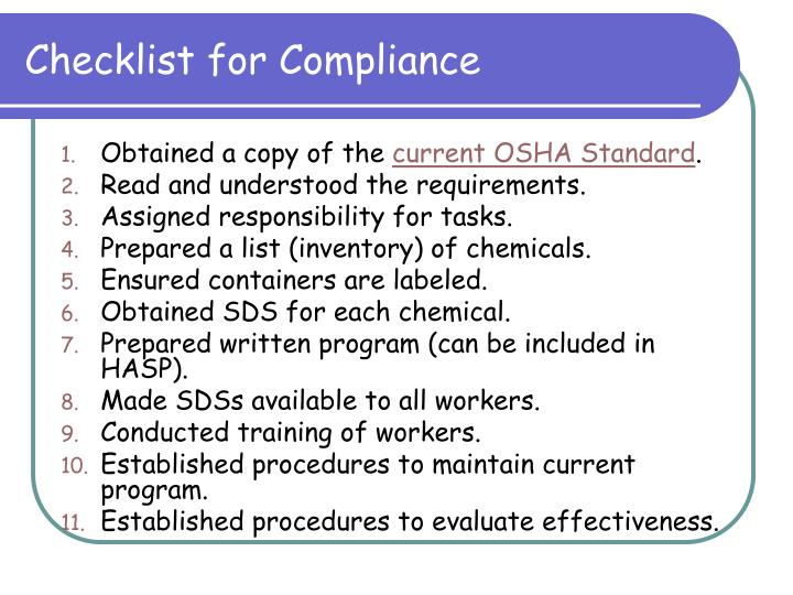 Checklist for Compliance