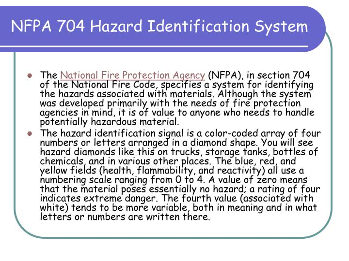 NFPA 704 Hazard Identification System