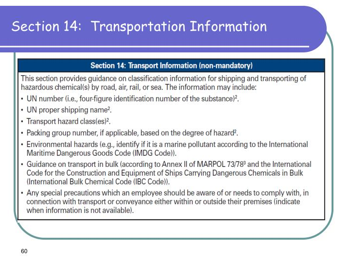 Section 14:  Transportation Information