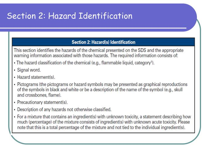 Section 2: Hazard Identification