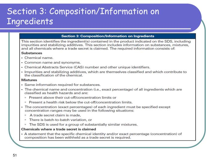 Section 3: Composition/Information on Ingredients