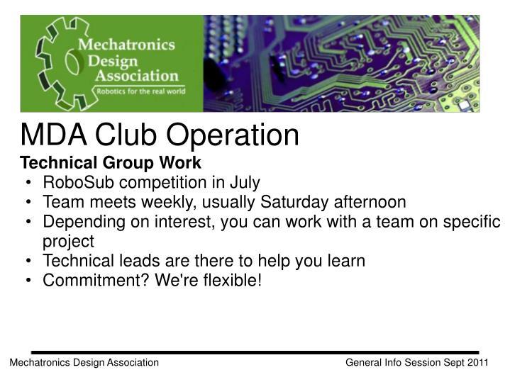 MDA Club Operation