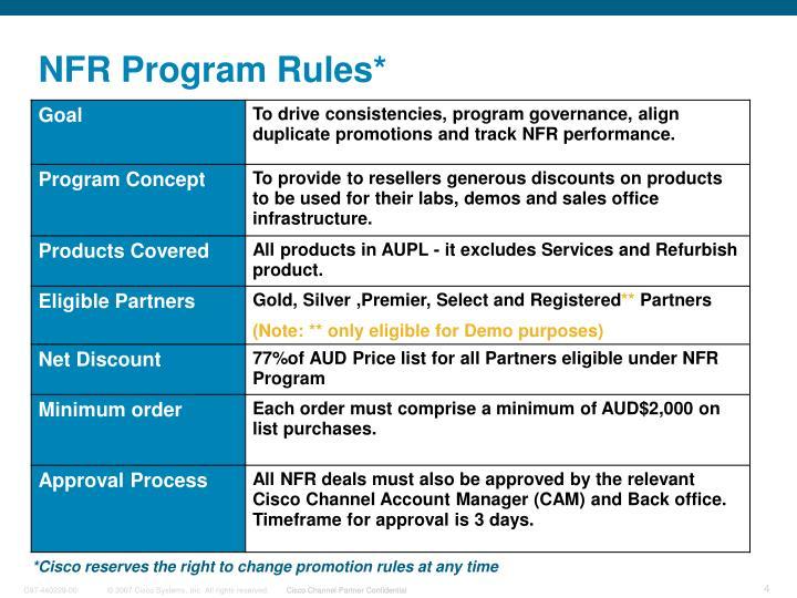 NFR Program Rules*