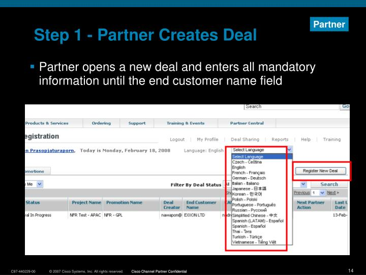 Step 1 - Partner Creates Deal