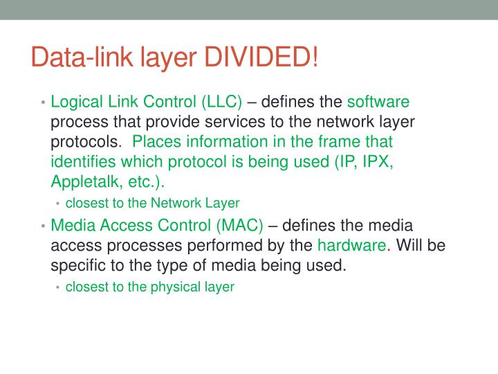 Data-link layer DIVIDED!