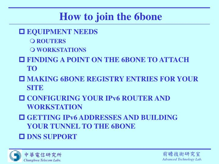 How to join the 6bone