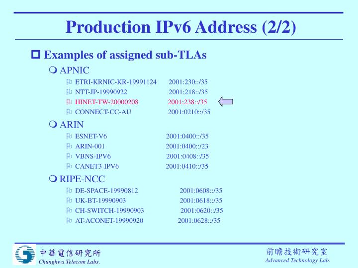 Production IPv6 Address (2/2)