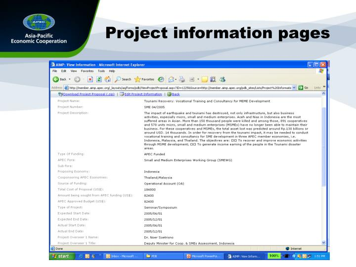 Project information pages
