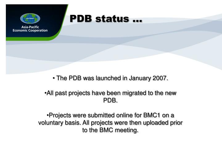 PDB status …